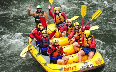 Interns in raft Rotorua trip