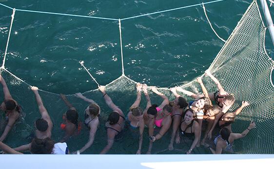 Interns on boat Bay of Island trip